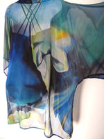 Water Lily Silk Kimono - Blue Abstract Dinner Jacket - Impressionist Silk Duster - Sheer Lingerie - Plus Clothing