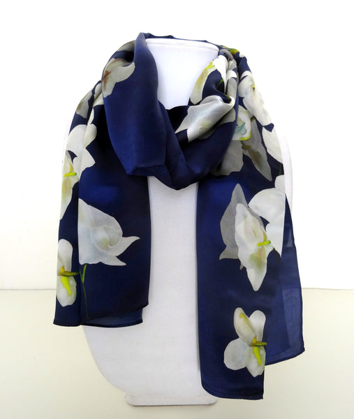 "Long Floral Silk Scarf - Navy Scarf - Scarf For Her - Mother of the Bride - Shiny Silk Satin - 22"" x 90"""