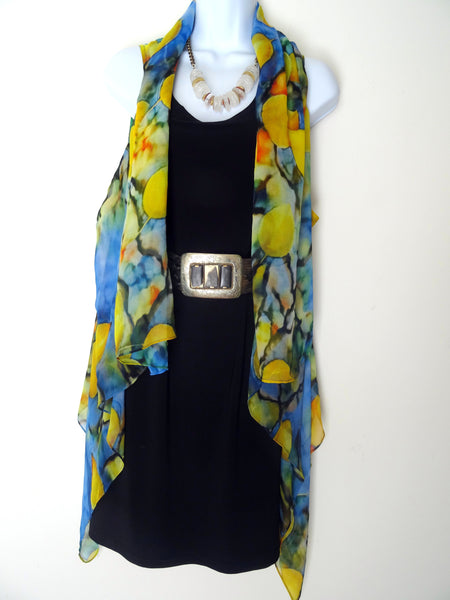 Abstract Sleeveless Duster - Blue Abstract Silk Scarf - Travel Wear - Plus Clothing
