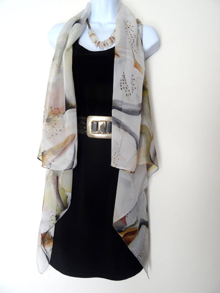 Beige Sleeveless Duster - Bee Silk Art Vest - Poncho - Garden Lover Gift - Travel Wear - Plus Clothing