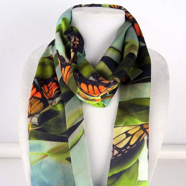 "Monarch Butterfly Scarf - Butterfly Scarf For Her - Spring Gift - Silk Satin Scarf - 15""x60"""