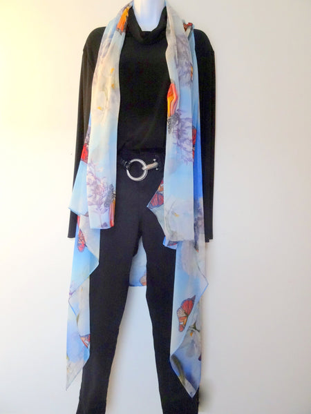 Butterfly Sleeveless Duster - Monarch Silk Scarf - Mother of the Bride - Wearable Art - Plus Clothing