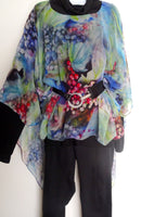 Winery Art Cape - Sheer Silk Cover Up - Resort Wear - Wearable Art Poncho - Sheer Caftan - Plus Clothing