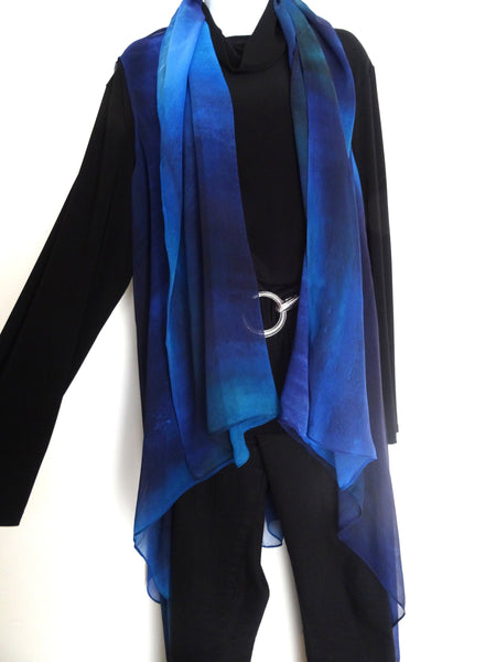 Elegant Blue Art Vest - Blue Silk Scarf - Poncho - Spring Scarf For Her - Mother of the Bride - One Size
