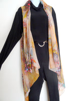 Brown Sleeveless Duster - Winery Bronze Silk Scarf - Winery Poncho - Scarf For Her - One Size