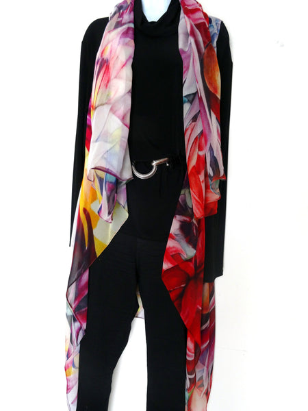 Elegant Art Vest - Floral Silk Scarf - Poncho - Spring Scarf For Her - Mother of the Bride - One Size