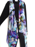 Abstract Sleeveless Duster - Blue Silk Scarf - Poncho - Spring Scarf For Her - Plus Clothing