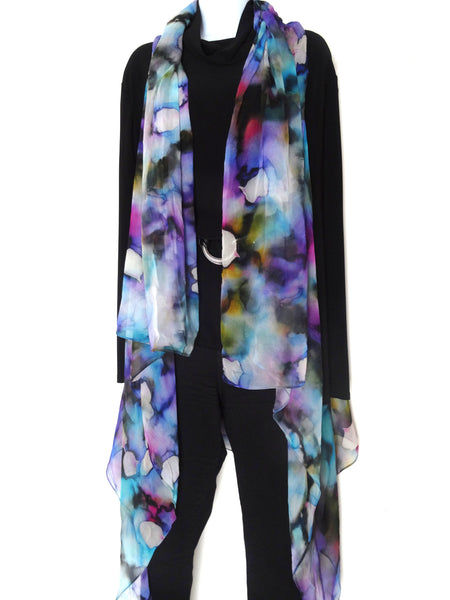 Elegant Art Vest - Blue Silk Scarf - Poncho - Spring Scarf For Her - Mother of the Bride - Plus Clothing