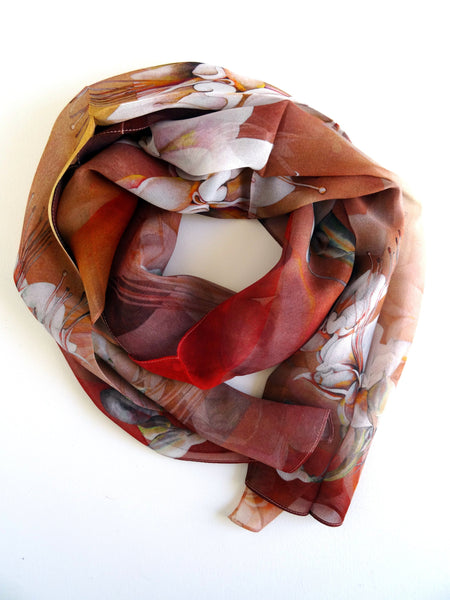 "Bronze Silk Scarf - Copper Floral Silk Scarf - Scarf For Her - Spring Scarf - 15""x 60"""