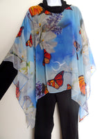 Monarch Butterfly Cape - Sheer Silk Coverup - Spring Gift For Her - Butterfly Wedding Caftan - Plus Clothing