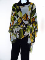 Monarch Butterfly Cape - Sheer Silk Coverup - Spring Gift For Her - Butterfly Caftan - One Size Plus