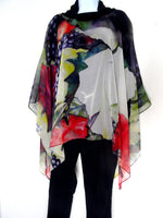 Elegant Silk Art Cape - Winery Silk Poncho - Cover Up - Wedding Silk Tunic - Sheer Caftan - Plus Clothing
