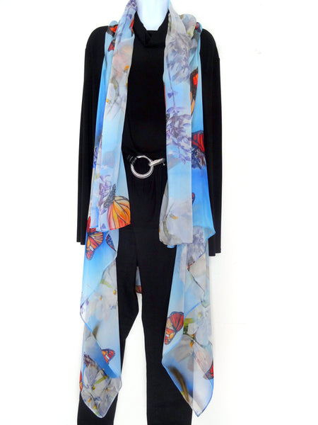 Butterfly Sleeveless Duster - Monarch Butterfly Silk Scarf - Spring Scarf For Her - Plus Clothing