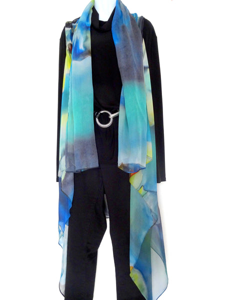 Elegant Blue Art Vest - Blue Silk Scarf - Poncho - Spring Scarf For Her - Bridal Look - One Size