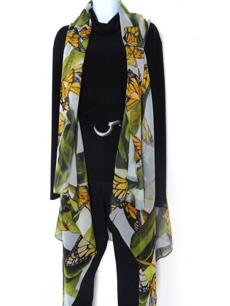 Butterfly Sleeveless Duster - Monarch Butterfly Silk Scarf - Poncho - Spring Scarf For Her - Plus Clothing
