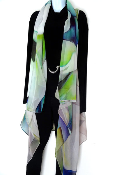 Abstract Sleeveless Duster - Green Silk Poncho - Summer Scarf For Her - Plus Clothing