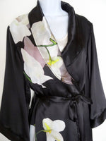 Black and White Silk Robe - Lingerie Gift For Her - Black Floral Silk Robe - Silk Lounge Wear - Silk Bridal Gift - One Size