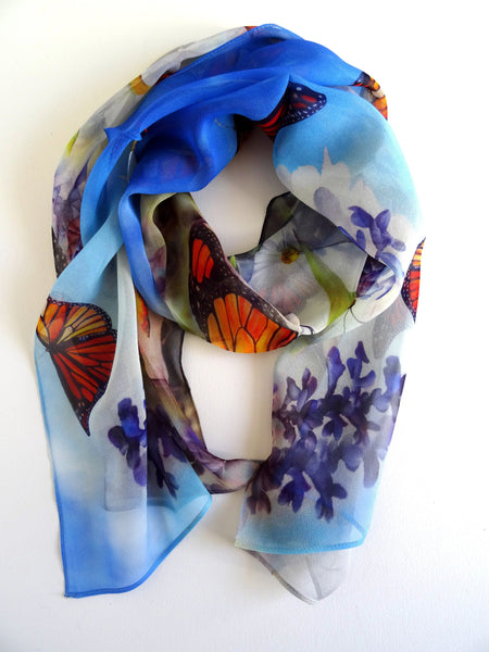 "Monarch Butterfly Scarf - Blue Butterfly Silk Scarf - Scarf For Her - Spring Silk Scarf - 15""x 60"""