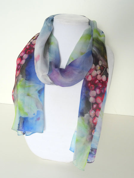 "Spring Silk Scarf - Winery Scarf - Blue Scarf - Gift For Her - 15""x60"""