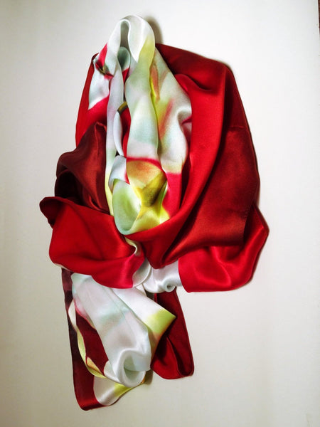 "Long Red Silk Scarf - Valentine Silk Scarf - Red and White Scarf - Gift For Her - 22""x90"""