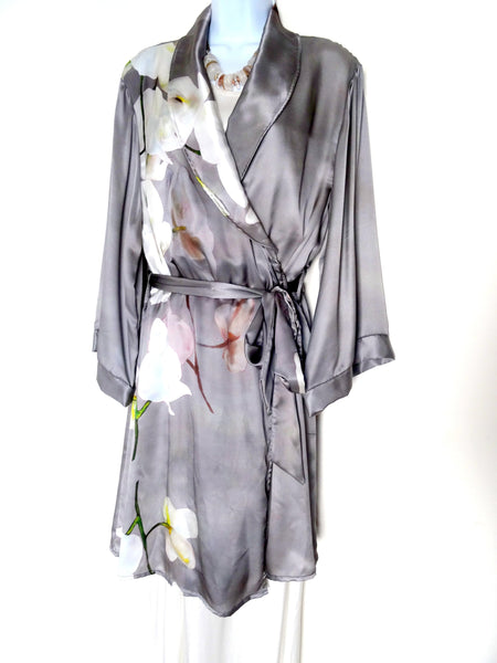 Gray Silk Robe - Bridal Gift - Gray Floral Silk Robe - Silk Lounge Wear - Lingerie Gift For Her - Silk Bridal Robe - One Size