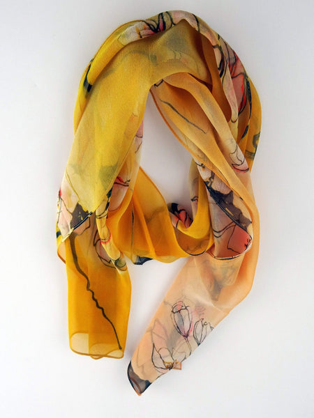 Soft Orange Cherry Blossom Silk Scarf
