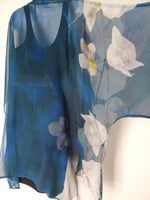 Classic Blue Silk Kimono - Floral Dinner Jacket - Blue Silk Duster - Sheer Lingerie - Plus Clothing