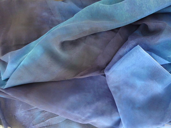 Blue Silk Material - Vibrant Silk By Yard - Digital Print Silk Georgette 8mm - DIY Sewer - Craft Material