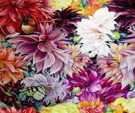 Floral Silk Material - Large Flower Vibrant Silk By Yard - Digital Print Silk Georgette 8mm - DIY Sewer - Craft Material