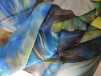 Blue Silk Material - Spring Silk By Yard - Water Lily Digital Print Silk Georgette 8mm - DIY Seamstress - Craft Material