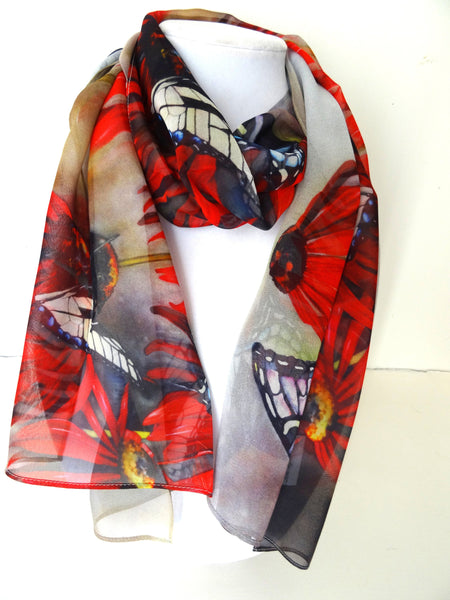 "Butterfly Scarf - Spring Butterfly Silk Scarf - Scarf For Her - Red Spring Scarf - 15""x 60"""