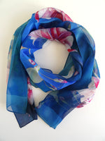 "Blue Floral Silk Scarf - Spring Scarf For Her - Vibrant Sheer Silk Scarf - 15"" x 60"""