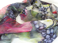"Winery Art Silk Scarf - Spring Vineyard Sheer Scarf - Scarf For Her - 15""x60"""