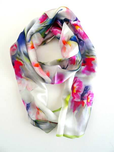 "Cherry Blossom Silk Scarf - Floral Spring Scarf - Watercolor Scarf - Shiny Silk Satin - 15""x 60"""