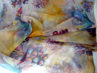 Grape Silk Material - Spring Silk By Yard - Winery Digital Print Silk Georgette 8mm - DIY Seamstress - Craft Material