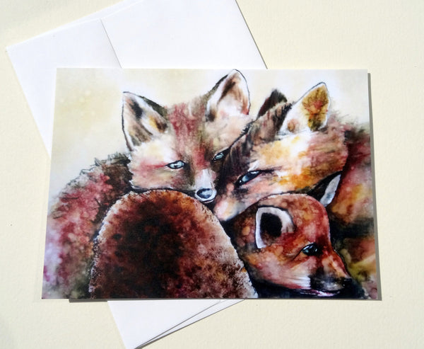 Fox Greeting Card with Envelope, Baby Animal Card, Mother's Day Card, Spring Greeting Card