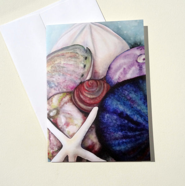 Sea Shells Greeting Card with Envelope, Ocean Beach Card, Mother's Day Card, Spring Greeting Card