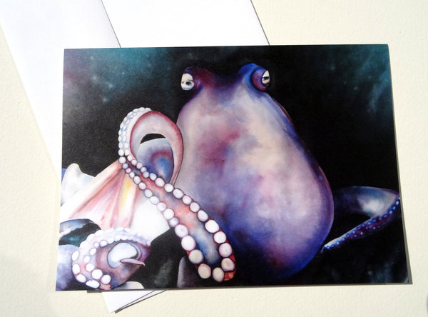 Octopus Greeting Card with Envelope, Ocean Creature Greeting Card, Steampunk Mother's Day Card