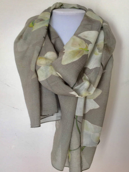 "Gray Cashmere Winter Scarf - Tropical Orchids - Grey - Soft Wool - Silk - Large Scarf - 22""x 90"""