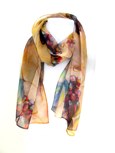 "Tuscany Art Silk Scarf - Vineyard Silk Scarf - Copper Spring Scarf For Her - Vibrant Sheer Silk Scarf - 15"" x 60"""