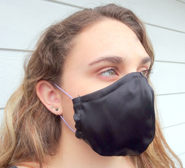 Black Protective Face Mask / Reusable Mask / One Size Fits Most / Triple Layered / Ships Same Day