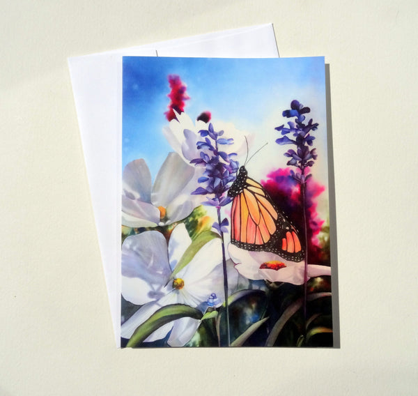 Monarch Butterfly Folded Greeting Cards with Envelope, Mother's Day Card, Floral Blank Card Set, Flower Greeting Cards
