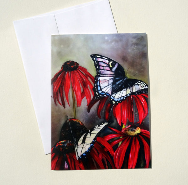 Butterfly Folded Greeting Card with Envelope, Mother's Day Card, Floral Blank Card Set, Flower Greeting Cards