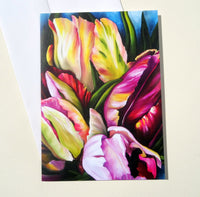 Spring Floral Greeting Card with Envelope, Pink Tulip Greeting Card, Floral Mother's Day Card