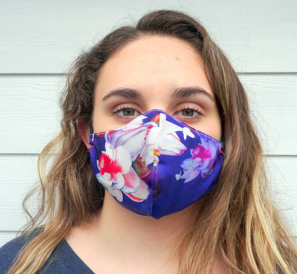 Floral Patterned Protective Face Mask / Reusable Mask / One Size Fits Most / Triple Layered / Ships Same Day