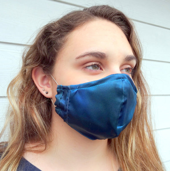 Blue Protective Face Mask / Reusable Mask / One Size Fits Most / Triple Layered / Ships Same Day