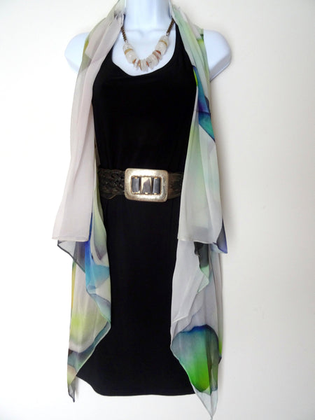 Abstract Sleeveless Duster - Silk Scarf - Poncho - Mother of the Bride - Resort Wear - Plus Clothing