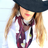 Red Silk Wild Rag - Floral Rodeo Bandana - Rodeo Queen Silk Scarf - Western Boho Fashion Scarf - Silk Twill 36""