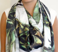 "Black and White Silk Scarf - Floral Silk Scarf - Boho Sunflower Scarf - Wedding Scarf - 15""x60"""