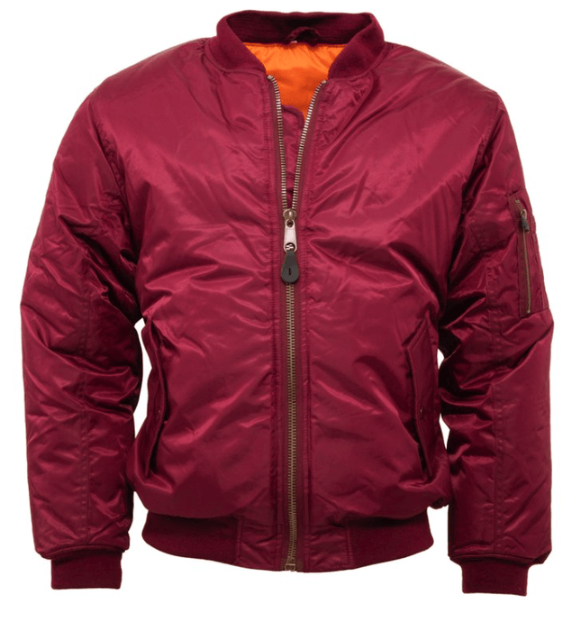 Burgundy MA1 Flight Bomber Jacket - GIAN LONDON